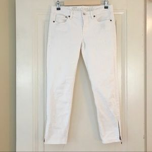 Madewell Cropped White Skinny Ankle Zipper Jeans
